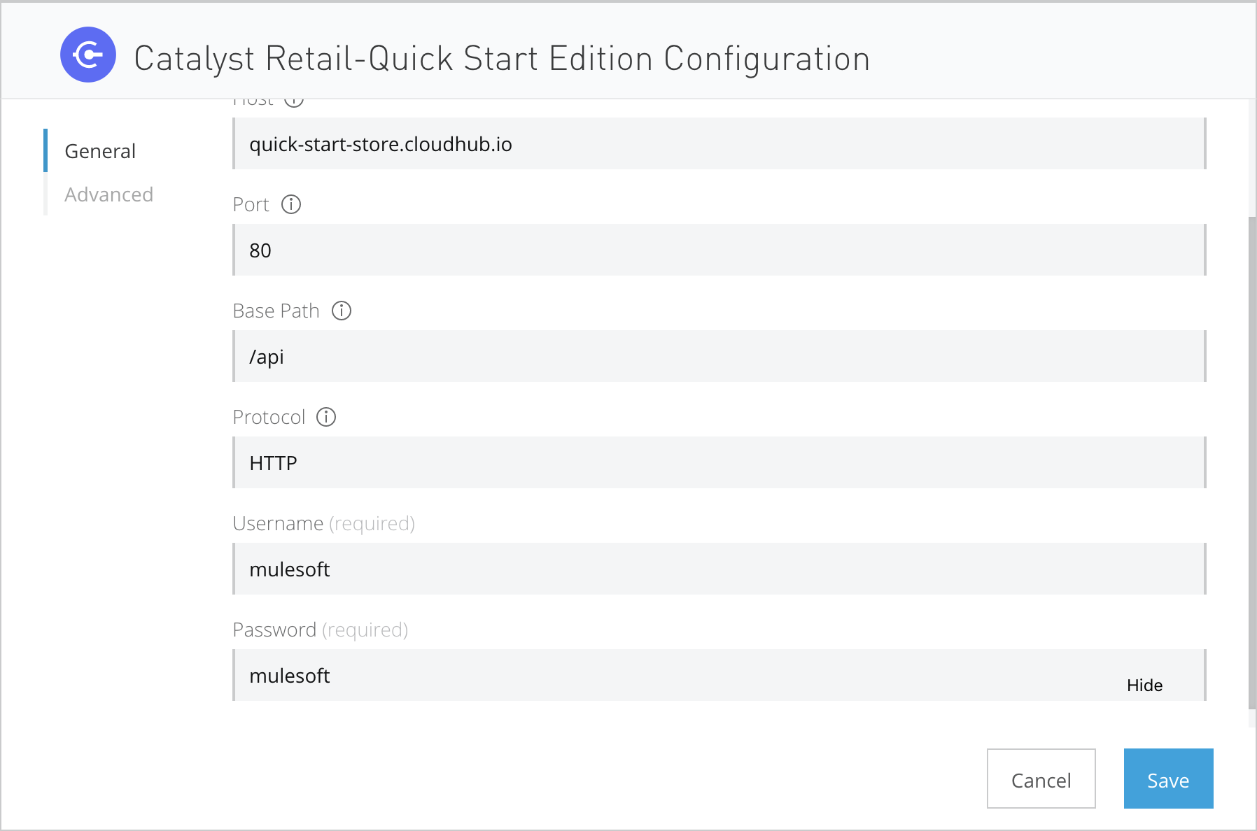 Catalyst Retail Quick Start Edition connector configuration
