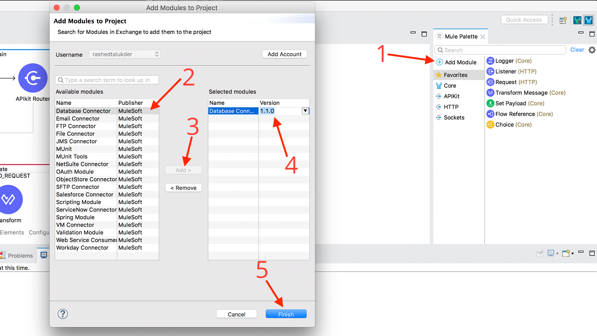 Adding database connector module to application